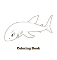 Coloring book shark cartoon educational vector image
