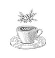 cup with a coffee drink on the white background vector image vector image