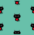 cute black cat holding red heart pattern seamless vector image vector image