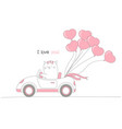 cute cat driving a car with heart shape balloons vector image