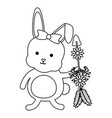 cute little rabbit with flowers and arrows vector image vector image