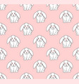 cute white rabbit on light pink background vector image vector image