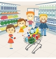 Family at the grocery store vector image