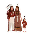 family of american indians mother father and vector image