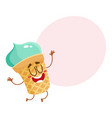 funny smiling pistachio ice cream character in vector image vector image