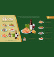 hand drawn italian food menu concept vector image