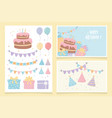 happy birthday cake gifts balloons pennants party vector image
