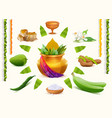 Happy Ugadi Set Holiday accessories Gold pot vector image vector image