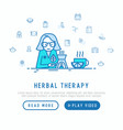 herbalist at work concept with thin line icons vector image vector image