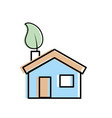 house with ecological leaf to environment care vector image