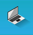 isometric laptop flat design icon on blue vector image