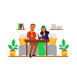 loving couple having conversation in cafe flat vector image
