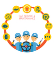 Mechanic and Car Maintenance Service Icons vector image