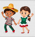 mexican boy and girl on transparent background vector image vector image