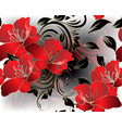 modern floral 3d red flowers seamless pattern vector image vector image