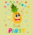 party flayer template cute pineapple character vector image vector image