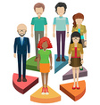People above the parts of the pie vector image vector image