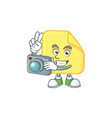 photographer rounded sticker paper cartoon vector image vector image