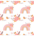 pink floral rainbow pattern pink romantic baby vector image vector image