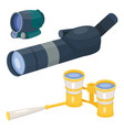 professional camera lens binoculars glass look-see vector image vector image