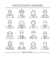 Professions Avatars Line Icon Set vector image