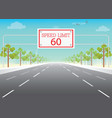 road sign with speed limit on highway vector image