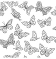 Seamless pattern with butterflies Black and vector image vector image