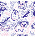 seamless pattern with hand drawn koalas in the vector image vector image