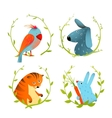 Set of Cartoon Domestic Animals Portraits vector image