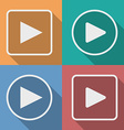Set of play button icons with a long shadow vector image