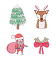set santa claus with pine tree and deer vector image vector image