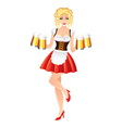 Sexy oktoberfest woman in dirndl with beer vector image