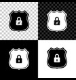 shield security with lock icon isolated on black vector image vector image