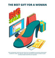 shoe market concept 3d of male and vector image vector image