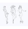 sketch drawing girl vector image vector image