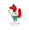 smartly dressed fox with flower vector image vector image