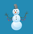 snowman raising hands with top hat isolated on vector image