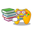 student with book retro computer game control on vector image