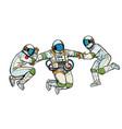 three astronauts in space in zero gravity isolate vector image vector image