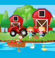 three kids having fun in the farm vector image vector image