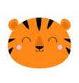 tiger face icon cute cartoon kawaii funny smiling vector image vector image