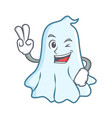 two finger cute ghost character cartoon vector image vector image