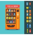 Vending Machine with Food and Drink Packaging Set vector image vector image