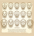 vintage mexican skull set poster vector image vector image