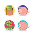 wallet money with piggy saving and symbol dollar vector image vector image