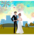 wedding invitation card with couple and firework vector image vector image