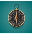 Vintage brass compass isolated background vector image