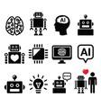 Artificial Intelligence AI robot icons set vector image