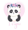 a cute cartoon giant panda is sitting on the vector image vector image