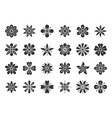 abstract flower black silhouette icons set vector image